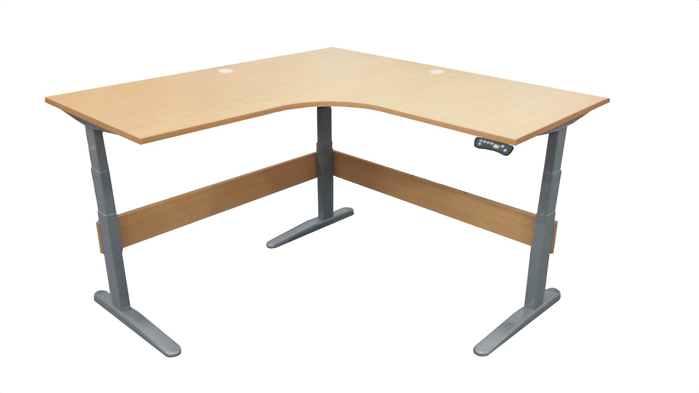 Accord Height Adjustable L-shaped Desk Large