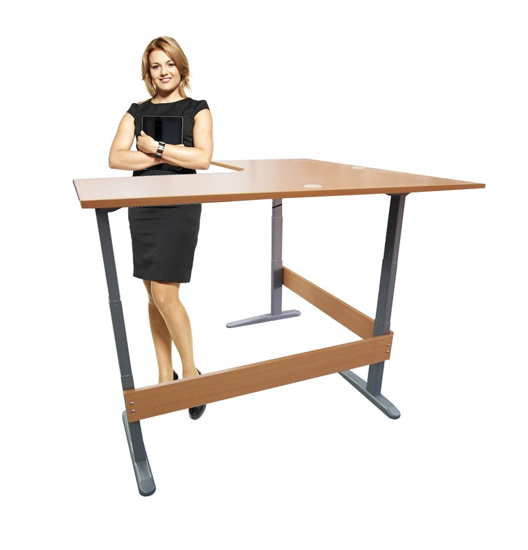Accord Height Adjustable L-shaped Desk Medium