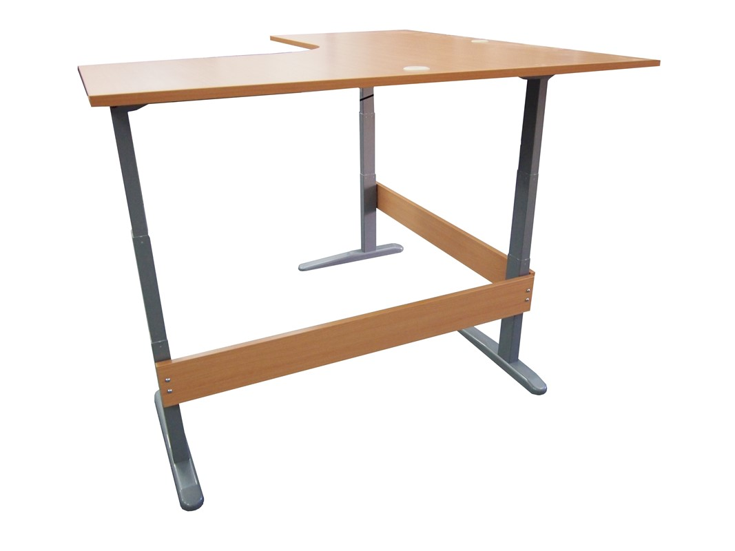 Accord Height Adjustable L-shaped Desk Small
