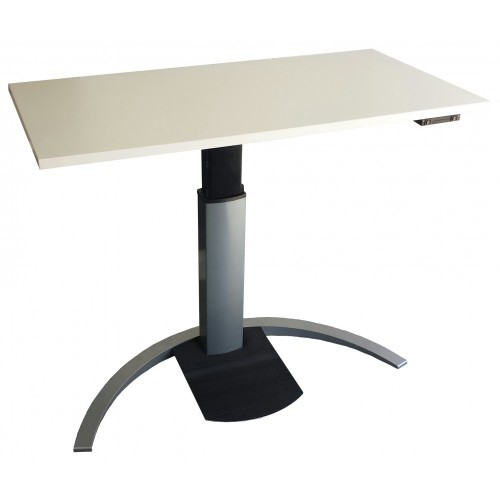 Compact Straight Height Adjustable Desk with Footrest