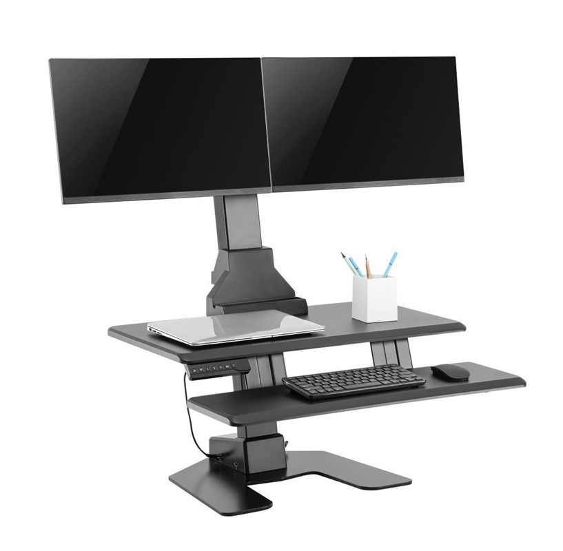 E-Lift Electric Dual Monitor Sit Stand  Desk Converter